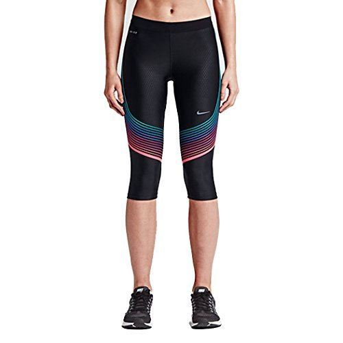 Nike Womens Power Speed Compression Running Capri Tights (X-Small, Black/Hyper Pink/Omega Blue)
