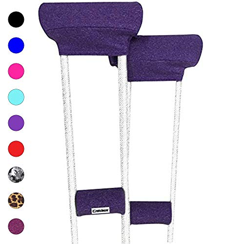 Crutcheze Premium USA Made Crutch Pad and Hand Grip Covers | Comfortable Underarm Padding Washable Breathable Moisture Wicking Orthopedic Products Crutches Accessories (Purple Heather)