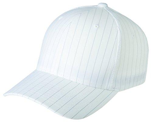 - Flexfit 6195P Stretch Twill Pinstripe Cap - Small/Medium (White/Black Pinstripe)