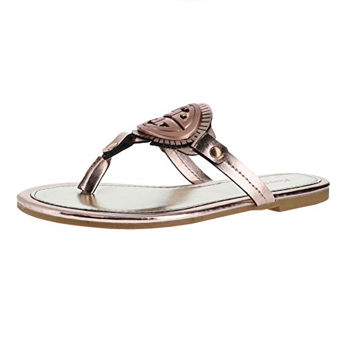 Gold Sandals Azaria Leather Vegan Strap Women's 9 Thong Pierre Ornamented Dumas T Rose Flats OxXqgUP
