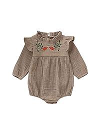 DKmagic Newborn Infant Baby Cute Short Sleeve Ruffle Bow Romper Bodysuit +Hat (6M-24M)