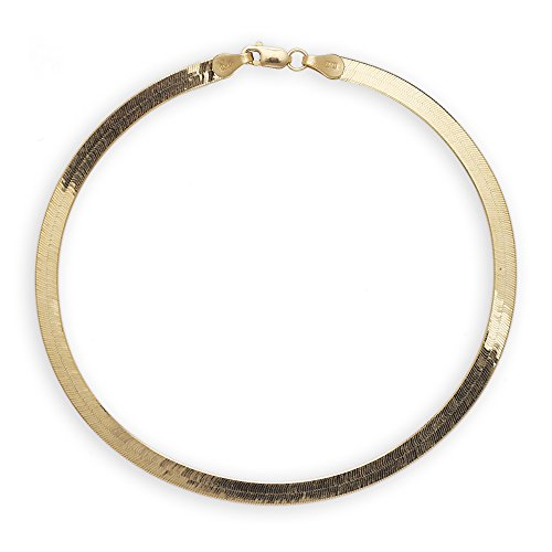 Floreo 8 Inch 10k Yellow Gold Super Flexible Silky Herringbone Chain Bracelet, 0.16
