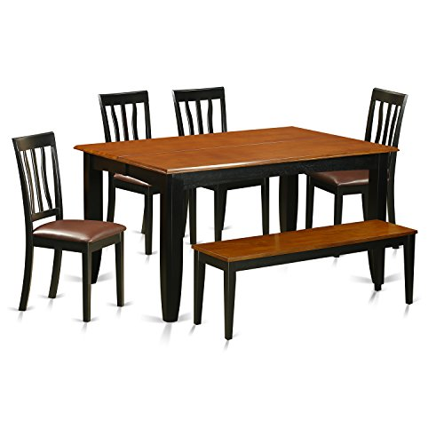 East West Furniture PFAN6-BCH-LC 6 Piece Kitchen Tables and 4 Chairs Plus Bench Set