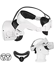 Oculus Quest 2 Halo Strap and Silicone Face Cover - Adjustable Replacement for Quest 2 Elite Strap - Relieved Face Pressure Comfortable Touch - Oculus Quest 2 VR Accessories Head Strap