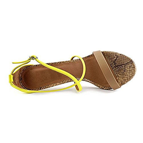 Damen Open Toe Sandalen High-Heel Stiletto Criss Cross Schnalle Gelb