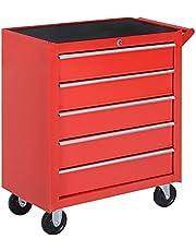 HOMCOM 5 Drawer Roller Tool Chest, Mobile Lockable Toolbox, Storage Cabinet with Handle for Workshop Mechanics Garage, Red