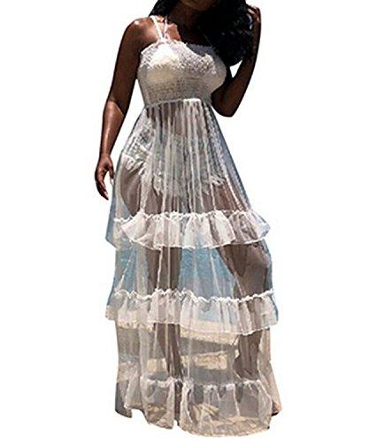 (WIFORNT Women Sexy Spaghetti Strap Sleeveless Tank Bodycon Bodysuit with Pleated Semi Sheer Mesh Ruffle Maxi Club Dress (White, S))