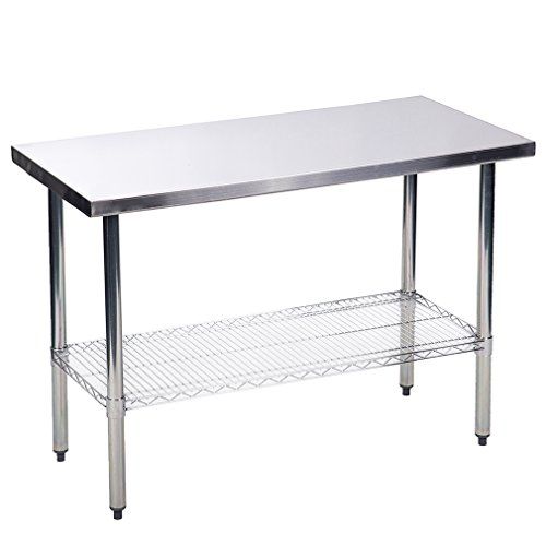 24'' x48'' Stainless Steel Kitchen Work Table w/Wire Lower Shelf Commercial by Mr Direct