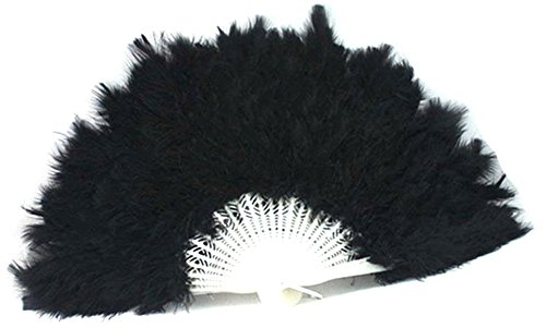 Bleu Costume (BleuMoo Soft Fluffy Lady Burlesque Wedding Hand Fancy Dress Costume Dance Feather Fan (Black))