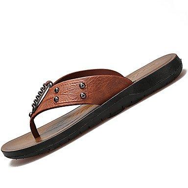 SHOES-XJIH&Gli uomini del foro di sandali scarpe PU esterna di estate tacco piatto Khaki Nero Marrone sotto 1a,Black,US7.5 / EU39 / UK6.5 / CN40