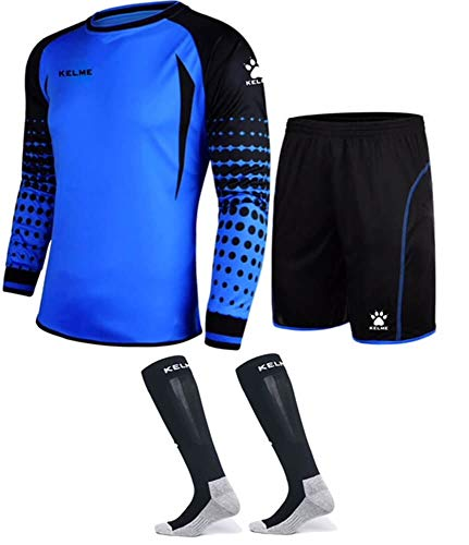 Goalkeeper Shirt Uniform Bundle - Includes Jersey, Shorts & Socks - Protection Pads on Shorts & Shirt (Blue, Large)