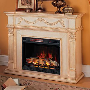 Cheap  ClassicFlame 28WM184-T408 Gossamer Wall Fireplace Mantel, Antique Ivory (Electric Fireplace Insert sold..
