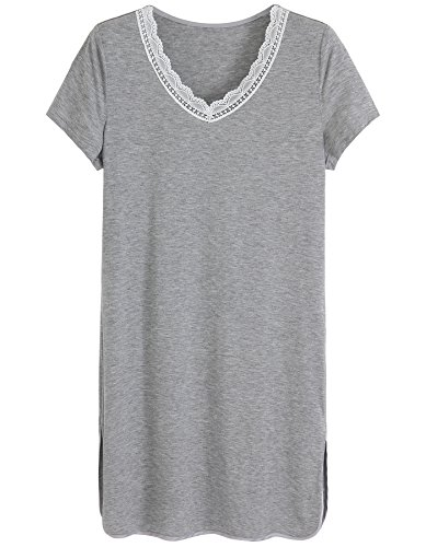 Latuza Women's Short Sleeve V-Neck Sleep Shirt S Light (Sleep Sleepshirt)