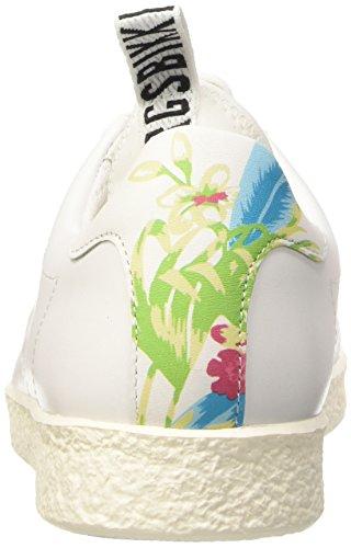 Bikkembergs Best 598 L.Shoe W Leather, Sandalias con Plataforma para Mujer Blanco (White/Floral)