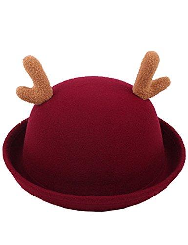 Lujuny Deer Antlers Bowler Hat - Wool Trendy Derby Cap with Roll-up Brim for Girl Women (Wine RED Deer) -