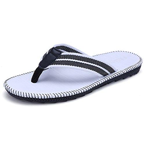 Playa los Tendencia Zapatillas Verano de Sandalias Vacaciones Hombres Antideslizante Flip de Blanco Flops Zapatillas de TIEpnqUIw
