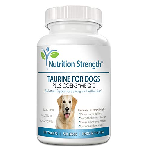 Nutrition Strength Taurine for Dogs, Natural Support for a Healthy Heart Function, Resist Inflammatory Diseases, with Coenzyme Q10 to Help Manage Heart Failure and DCM in Dogs, 120 Chewable Tablets