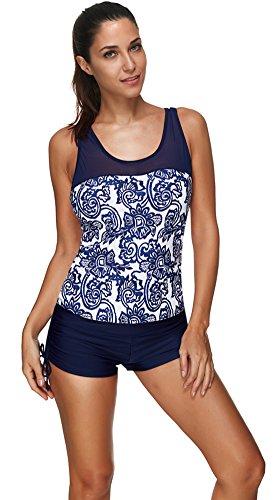 - Women'S Sexy Mesh Swimsuit Tankini Set with Boyshort Bottom Swimwear Plus Size Navy Blue