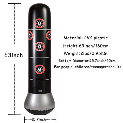 Inflatable Punching Bag, Freestanding Punching Bag, Standing Kickboxing Bag, Heavy Training Bag 63inch Include Air Pump for Adults Kids