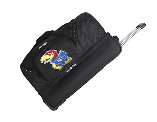 NCAA Kansas Jayhawks Rolling Drop-Bottom Duffel Bag, 27 x 16 x 14