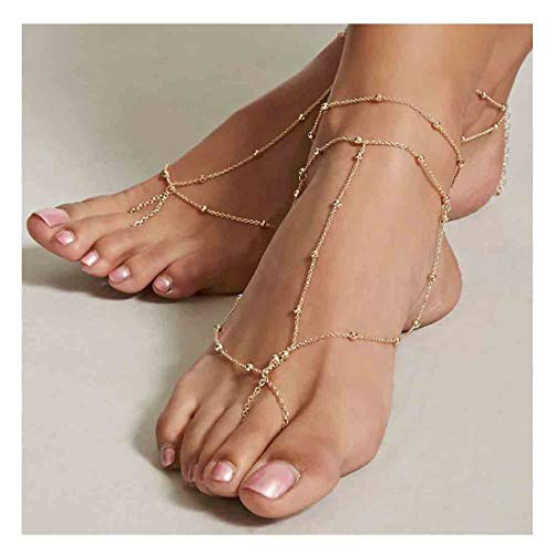 Olbye Gold Toe Ring Anklet Chain Adjustable Barefoot