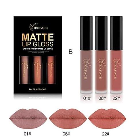 DZT1968 3PCS 6ml New Fashion Waterproof non-marking non-fade Matte Liquid Lipstick Cosmetic Sexy Lip Gloss Kit (B)