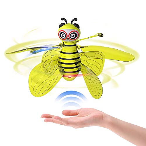 HUASAN Bee Flying Toys, Gravity Defying Hand-Controlled Suspension Helicopter Toy, Infrared Induction Interactive Drone Indoor Flyer Toys with 360° Rotating for Kids, Teenagers Boys Girls (Yellow)