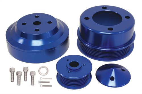 1979-93 Compatible/Replacement for FORD MUSTANG 5.0 BILLET ALUMINUM SERPENTINE PULLEY SET - BLUE