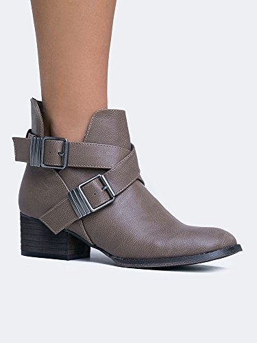 BRONCO Western Cowboy Style Almond Toe Ankle Boot