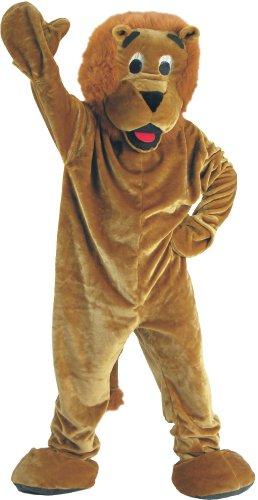 [Forum Deluxe Plush Lion Mascot Costume, Tan, One Size] (Lion Jumpsuit Mascot Costumes)