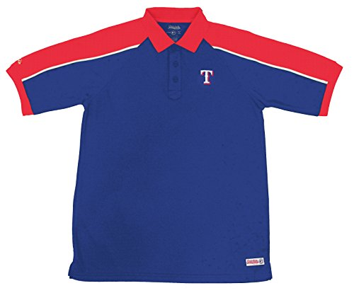 MLB Texas Rangers Color Blocked Polo with Lined Mini Mesh Panels