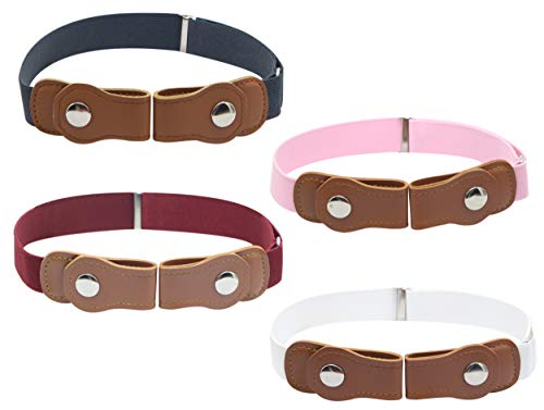 Timiot No Buckle Belt for Kids (4-Pack) Designer Comfort for Boys and Girls | Elastic Stretch Fit | Supports Independent Toddlers (Dark Grey/Pink/Burgundy/White)