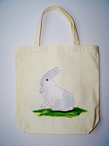 Painted Bunny Rabbit Tote Bag, Acrylic Painting by Artist, Nancy M. Trombino (Nancy Acrylic)