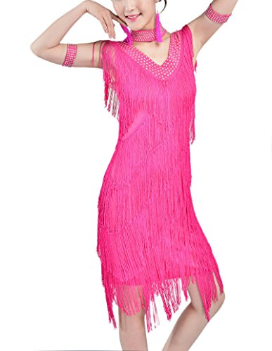 Vintage Fringe Flapper Halloween Era Themed Event Costume Outfit 1920 Dress Pink, Pink, 4 / 6