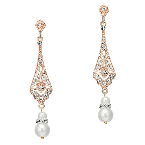 BABEYOND 1920s Vintage Wedding Pearl Dangle Drop Earrings Art Deco Gatsby Earrings (Style 5-Rose Gold) ()