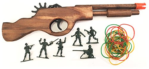 - Wooden Rubber Band Gun Black Bear Destroyer Shotgun with Extra Rubber Bands Ammo and Army Men Targets
