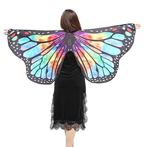 iDWZA Women Girl Butterfly Wings Shawl Scarves Pixie Cosplay Costume Accessory(14770cm,Multicolor )