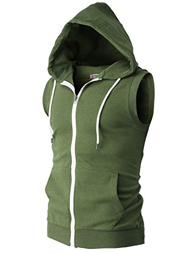H2H Mens Basic Patterned Zip Up Sleeveless Hoodie Vest OliveGreen US S/Asia M (CMOHOSL08)