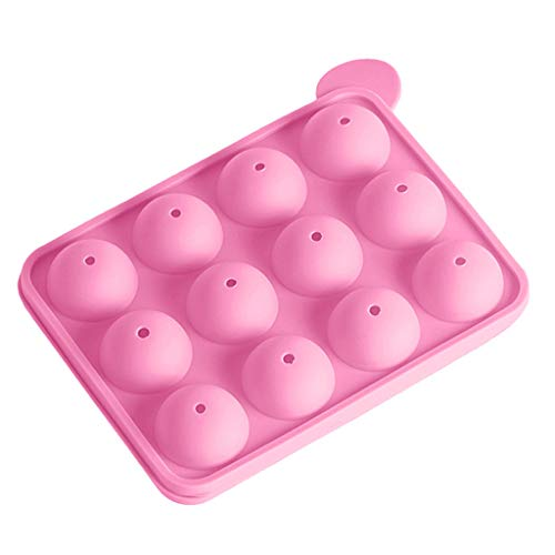 Non Stick Cupcake Mold Muffin Pan Silicone 12 Balls Tray Lollipop Mold Chocolate Mold Cake Baking Mould Cake Decor(Pink)
