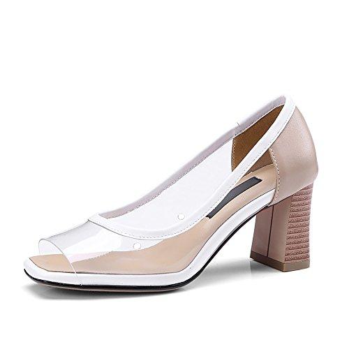 Shape Sandals Women's Peep Heels Transparent Chunky High Toes Linear QZUnique Upper White Square FOgwxq4UYU