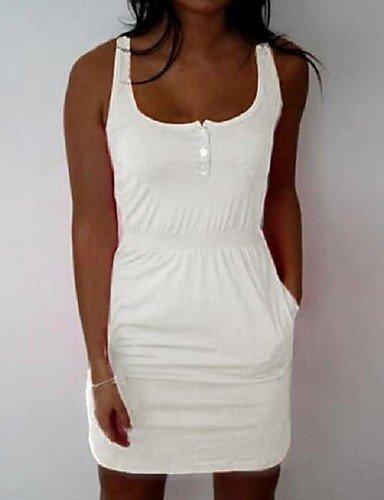 PU&PU Robe Aux femmes Gaine Simple / Street Chic,Couleur Pleine Col Arrondi Mini Polyester , black-2xl , black-2xl