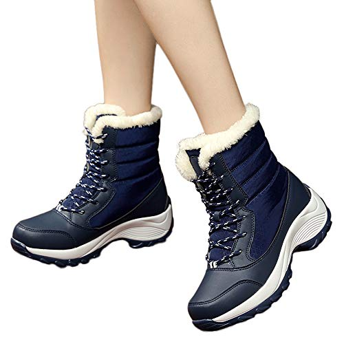 Women Snow Boots Cinsanong Non-Slip Thick Fur Boots Waterproof Platform Ankle Shoes Boots ()