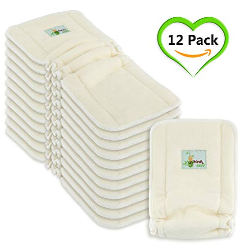 Naturally Natures 5 Layer Cloth Diaper - Inserts - with Gussetts Bamboo Reusable Liners for Cloth Diapers (Pack of 12) (Best Cloth Diaper Inserts For Heavy Wetters)