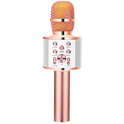 VERKB Wireless Karaoke Microphone with Speaker Q10 Plus, Portable Bluetooth Singing Machine for iPhone Android Smartphone Home KTV, Birthday Party, Team Building (Rose Gold) -