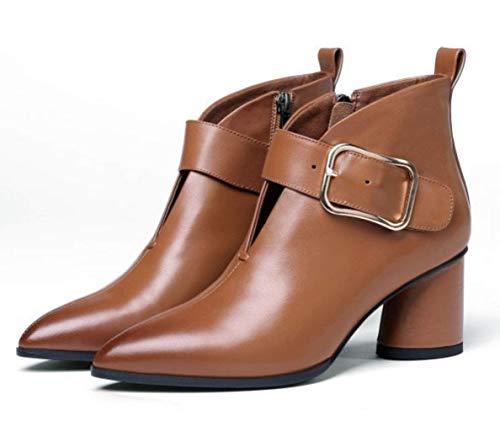 Wild Botas New Para Cinturón Mujer Tacón Trend Alto Brown Grueso Metal Shiney Ol De Hebilla OfqTqxd