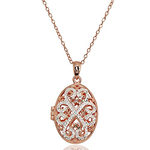 Rose Gold Flashed Sterling Silver Two-Tone Polished Diamond-Cut Oval Filigree Picture Locket Necklace Locket Rose Gold Necklace