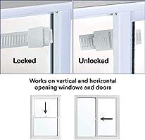 SEAER Cerradura de puerta corredera para seguridad infantil, 2 unidades a prueba de bebés puertas y armarios, cerraduras de ventana deslizantes con fuerte cinta adhesiva: Amazon.es: Hogar