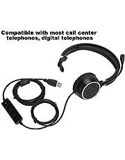 Fone de ouvido para call center, fone de ouvido macio e confortável de serviço durável, microfone com redução de ruído e rotação de 300 graus USB Drive-by-wire de escritório ajustável para