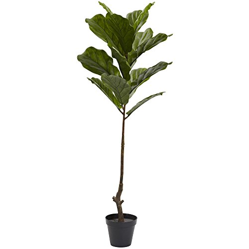 Natural Leaf Tree - Nearly Natural Fiddle Leaf Indoor/Outdoor UV Resistant Tree, 4'