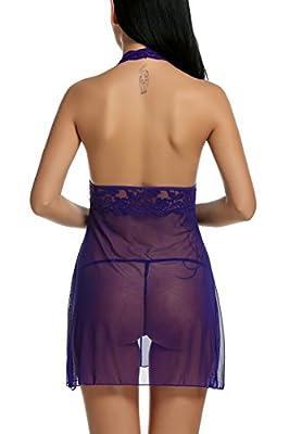 Avidlove Women Lingerie Halter Chemise Lace Babydoll Mesh Nightwear